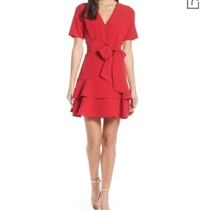 Charles Henry red ruffle tiered wrap dress petite
